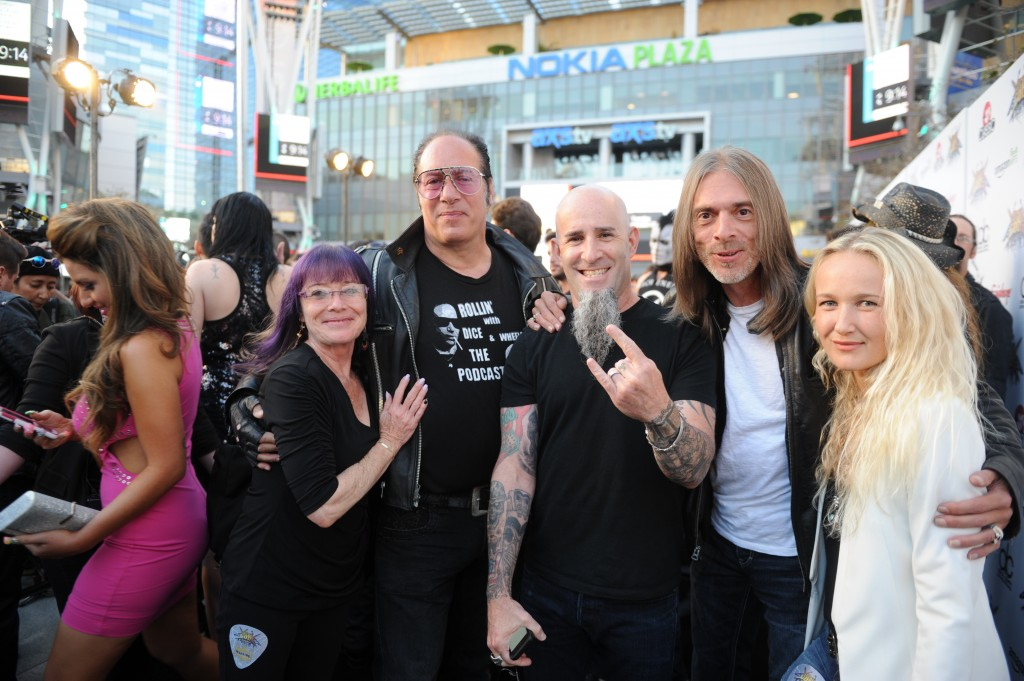 Heidi, Andrew Dice Clay, Scott Ian (Anthrax), mystery man, Pearl Aday (Scott's wife).