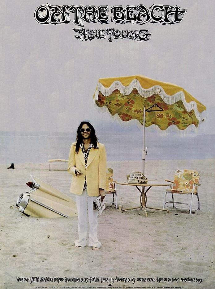 neil young on the beach poster