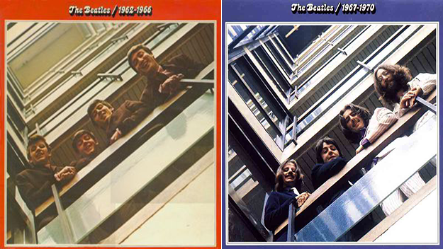 beatles red and blue albums